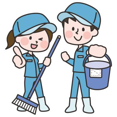 洗い場での清掃業務